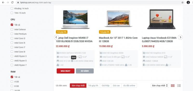 Trang chủ của FPTshop.com.vn