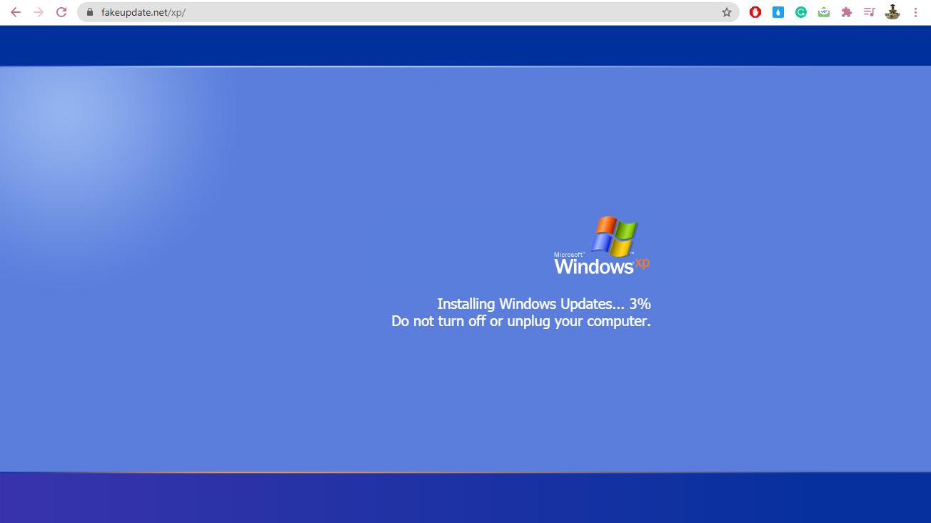 Fake Windows Update Screens